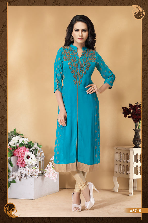 Classic Blue and Gold Long Kurti
