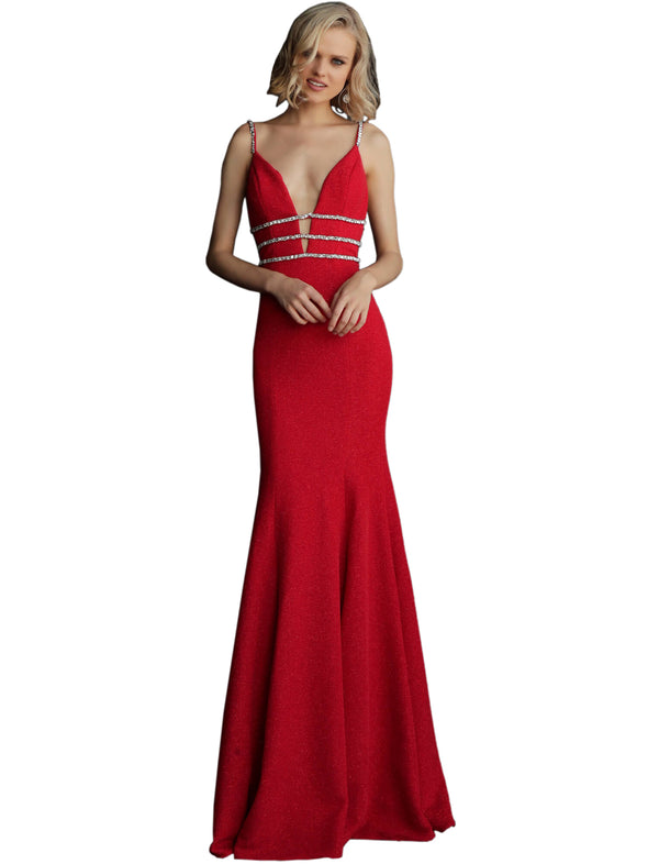 Jovani Crimson Fitted Embellished Waist Spaghetti Straps Prom Dress