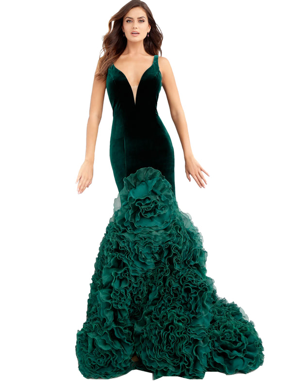 Jovani Hunter Plunging Neckline Ruffle Mermaid Prom Gown Dress