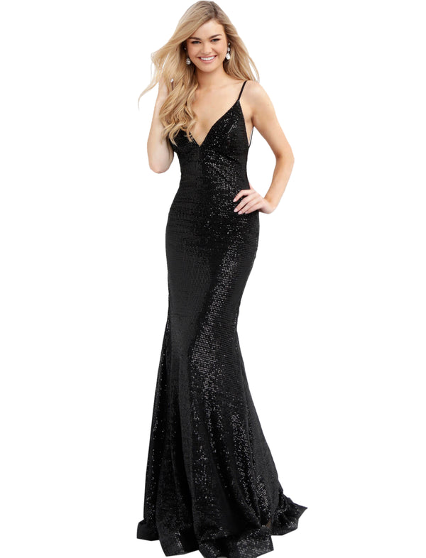Jovani Black Fitted Backless Sequin Prom Dress