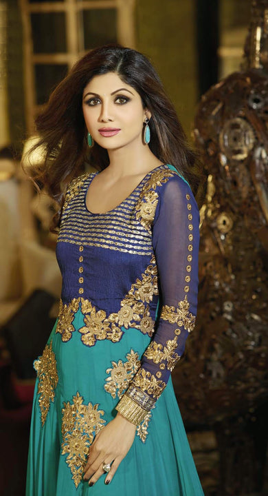 Gorgeous Long Blue Anarkali by Shilpa Shetty (6006)