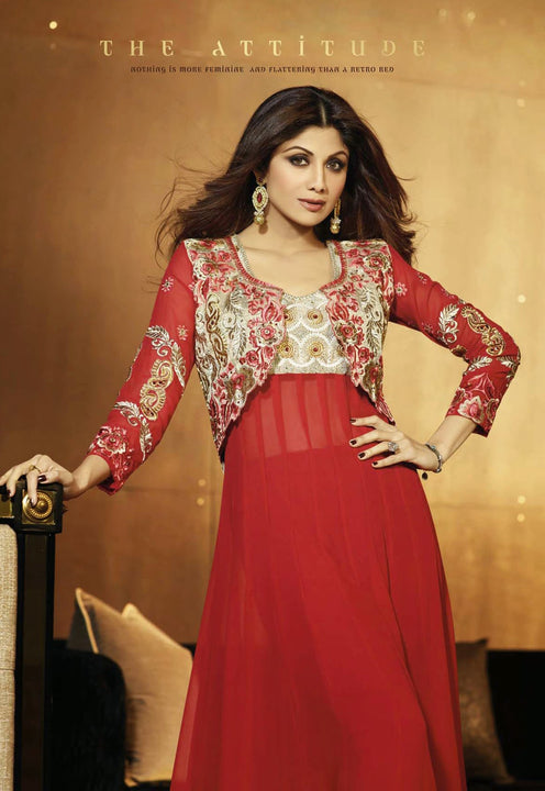Gorgeous Long Royal Red Anarkali by Shilpa Shetty (6007)
