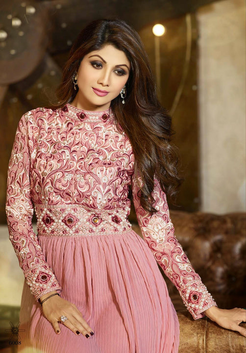 Long Soft Pink Embroidered Anarkali by Shilpa Shetty (6008)