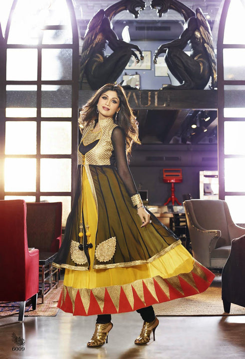 Long Black Anarkali Gown by Shilpa Shetty (6009)
