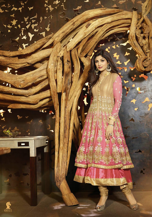 Long Pink Shimmer Anarkali by Shilpa Shetty (6011)