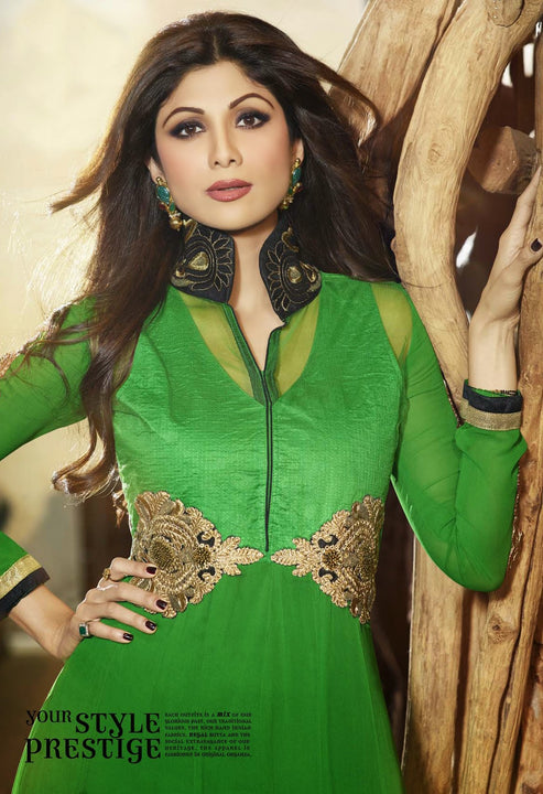 Long Green Lacy Anarkali by Shilpa Shetty (6012)