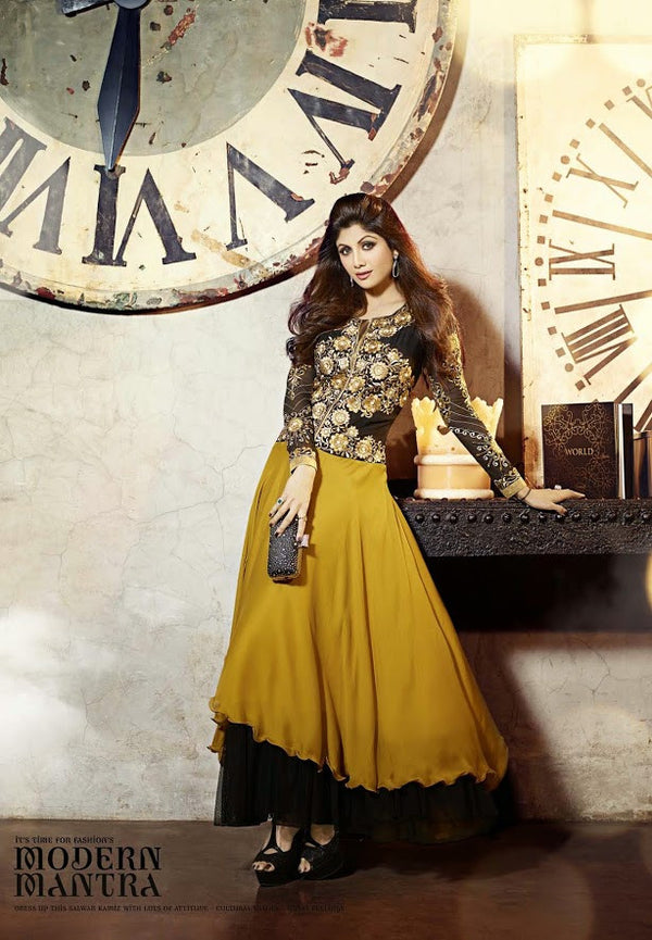 Long Black Embroidered Anarkali by Shilpa Shetty (6014)