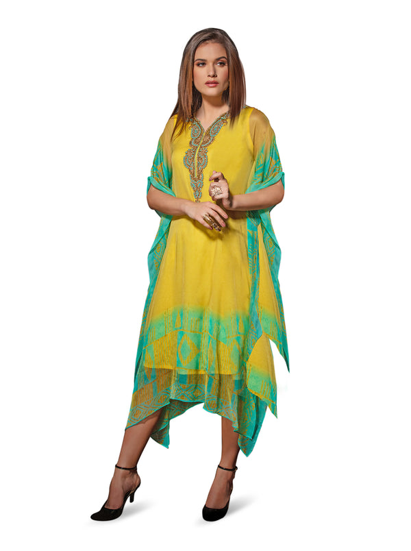 Electric Yellow And Green Kaftan Style Long Kurti
