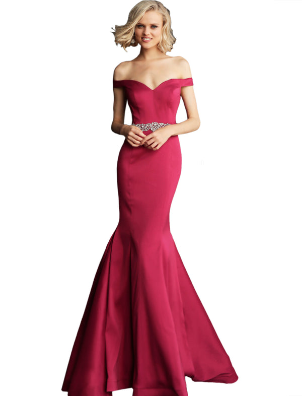 Jovani Berry Off the Shoulder Sweetheart Neck Prom Dress