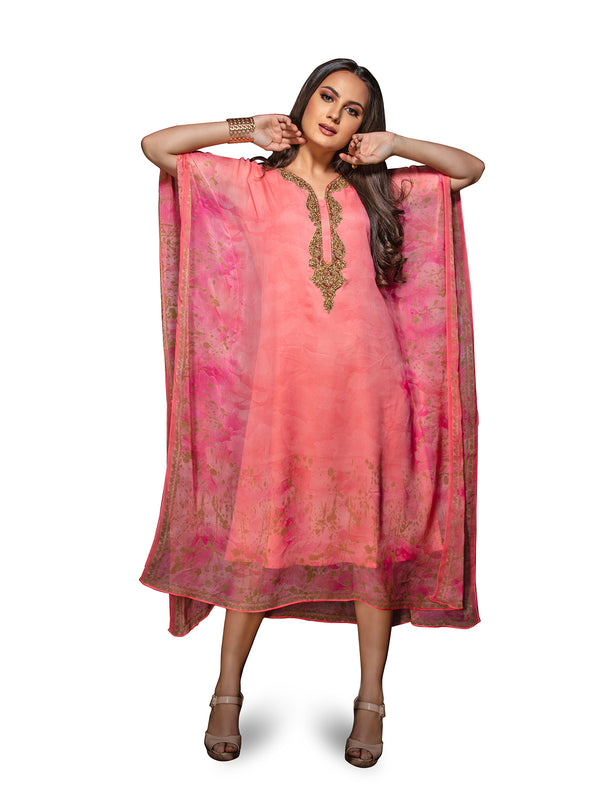 Cool Cherry Pink Kaftan Style Long Kurti