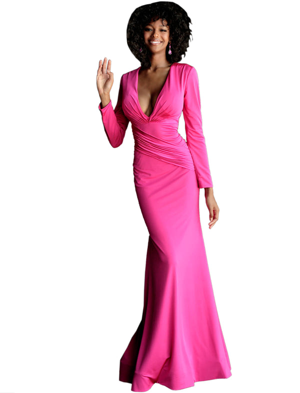 Jovani Hot Pink Long Sleeve V Neck Prom Dress