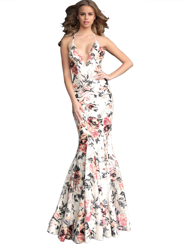Jovani Multi Color Floral Fitted V Neck Evening Dress