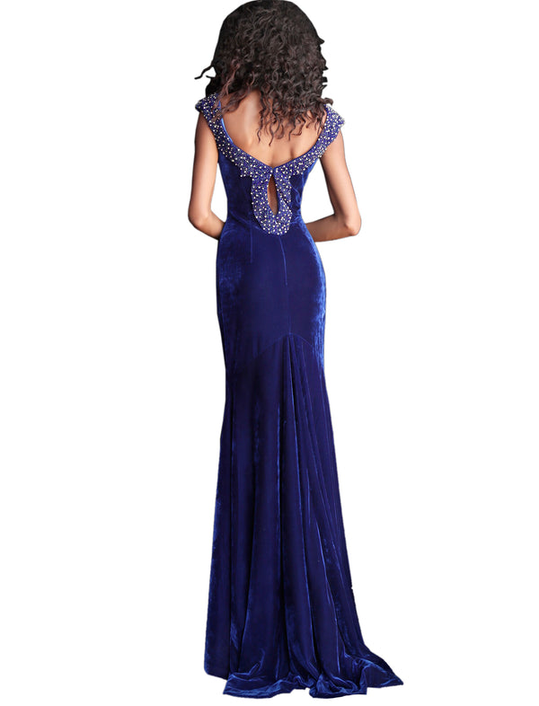 Jovani Navy Embellished V Neck Velvet Prom Dress
