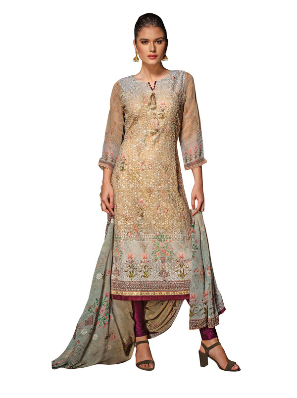 Cosmic Beige Embroidered Chikankari Long Kurti Salwar Kameez Suit D-6216