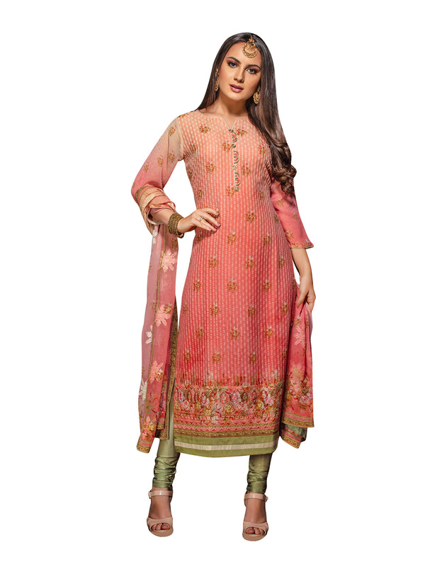 Coral Embroidered Chikankari Long Kurti Salwar Kameez Suit D-6222