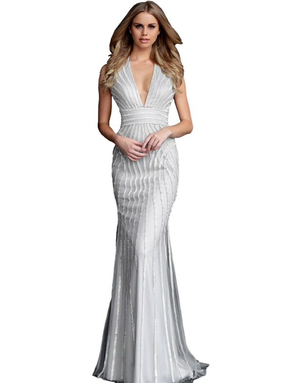 Jovani Silver Beaded Halter V Neck Prom Dress