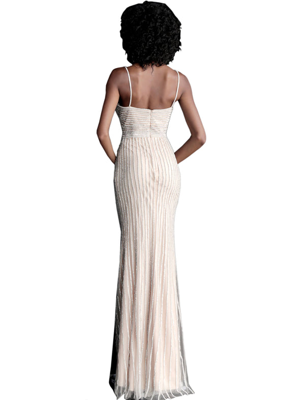Jovani Silver Nude Spaghetti Straps Beaded Prom Dress