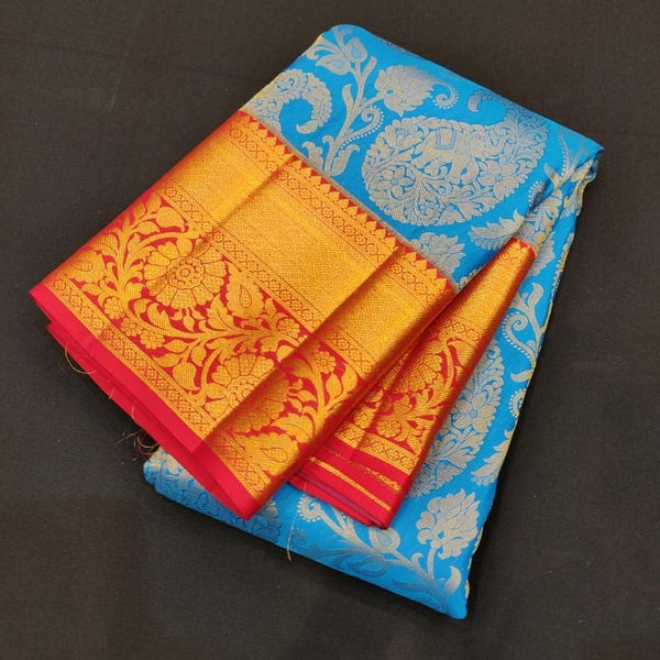 Rich Blue and Red Pure Silk Kanjivaram Handloom Pattu Sari BM01