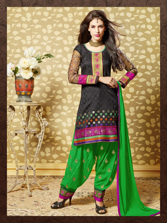 Lovely Black and Green Salwar Kameez (D. No. 7002)