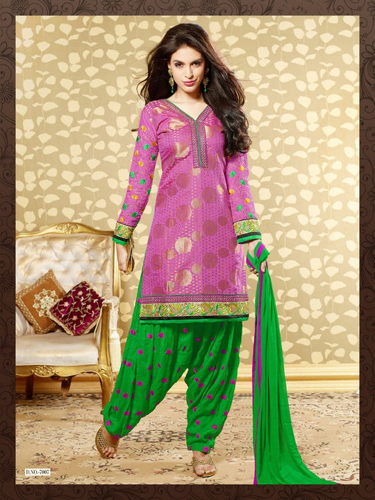 Lovely Pink and Green Salwar Kameez (D. No. 7007)