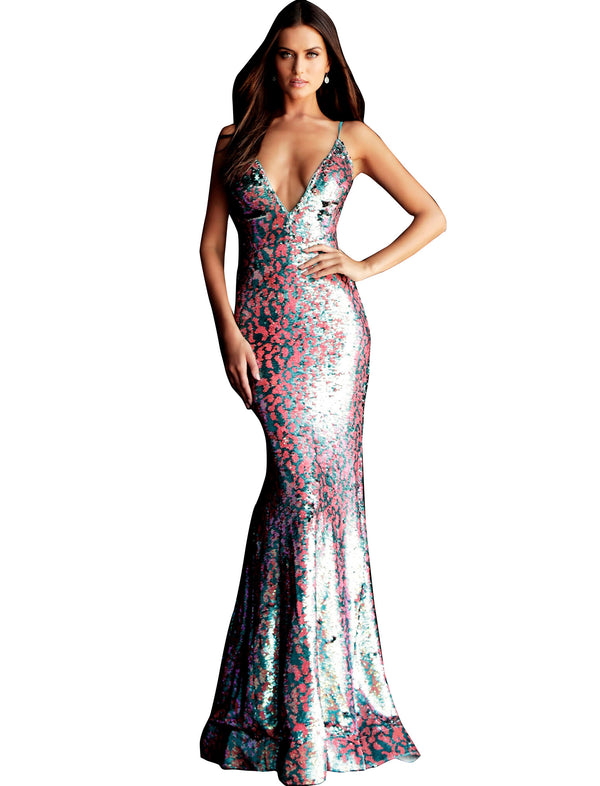 Jovani Multi Sequin V Neck Fitted Prom Dress