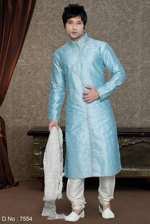 Royal Light Blue Embroidered Silk Kurta Multiple Sizes (Rent)