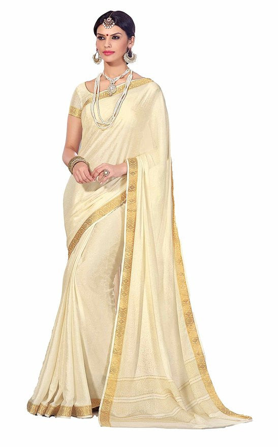Beautiful Beige and Gold Wedding Sari
