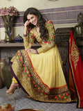 Yellow Faux Georgette Long Anarkali (D. No. 9002)