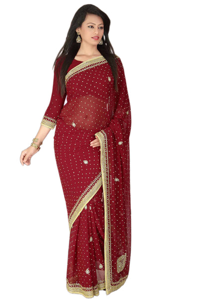 Charming Red and Gold Pre-Stitched Ready-made Sari