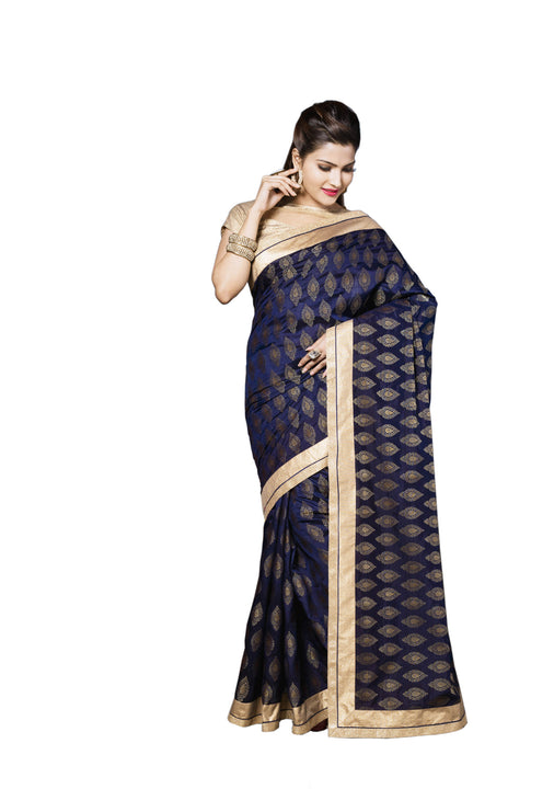 Elegant Navy Blue and Gold Sari