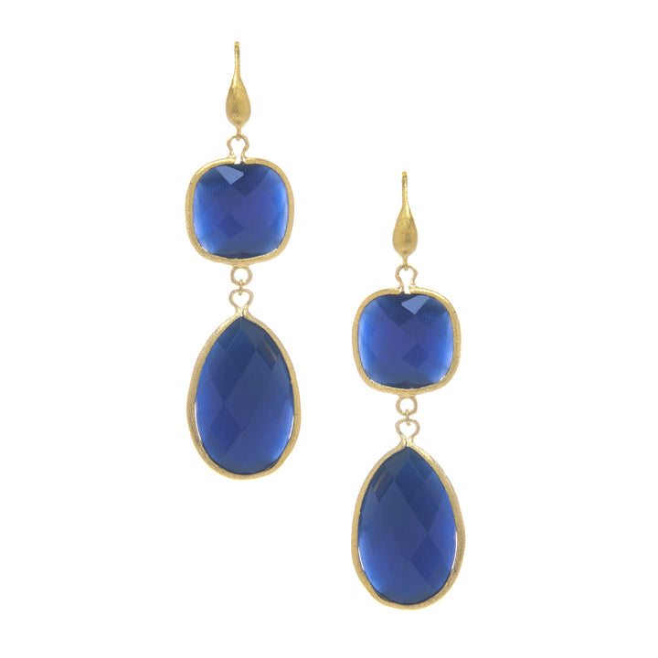 Rivka Friedman 18K Gold Clad Bold Navy Blue Cat's Eye Crystal Double Dangle Earrings