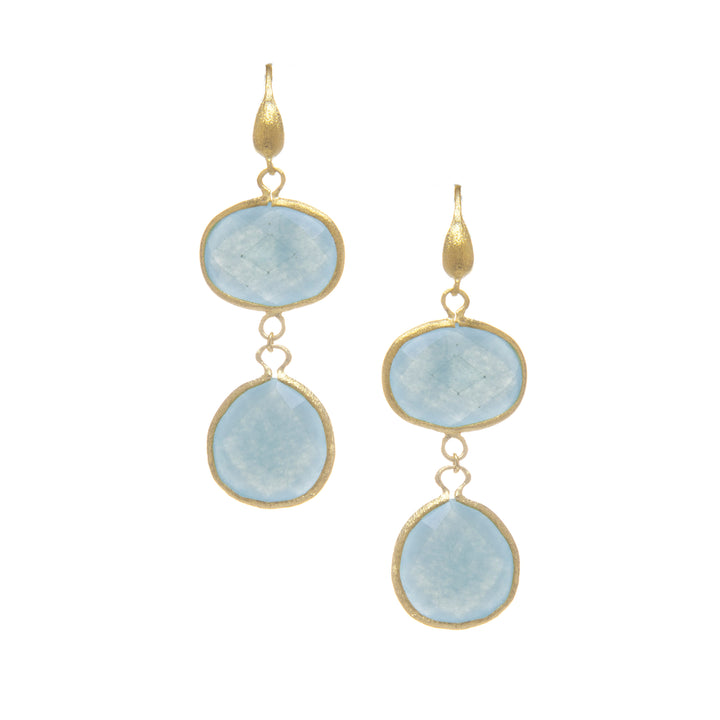 Rivka Friedman 18K Gold Clad Faceted Caribbean Blue Quartzite East/West Top and Teardrop Bottom Satin Hook Earrings