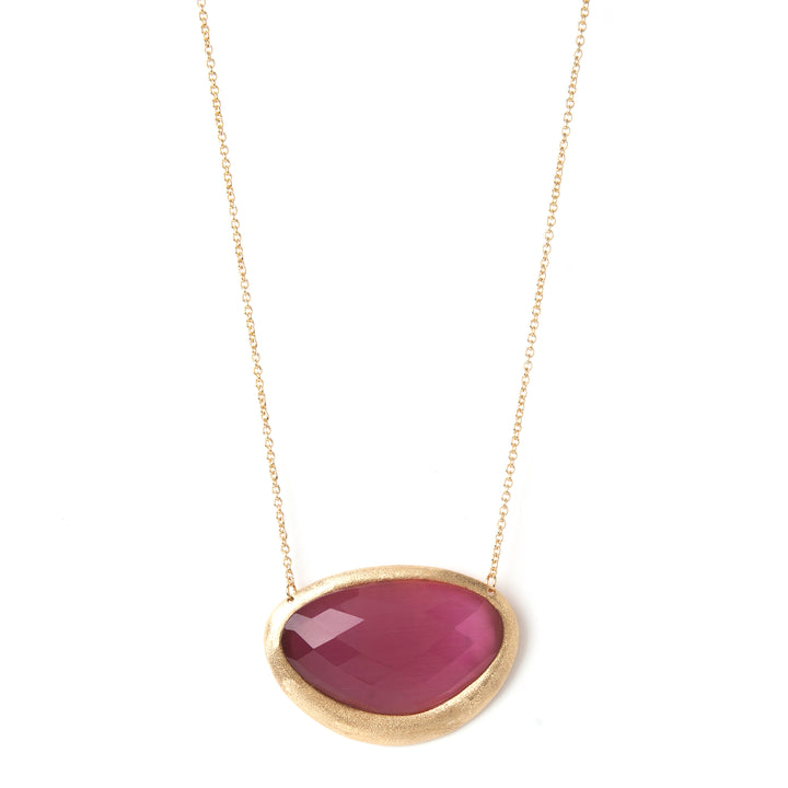Rivka Friedman 18K Gold Clad Faceted Raspberry Cat's Eye Crystal Pendant Necklace