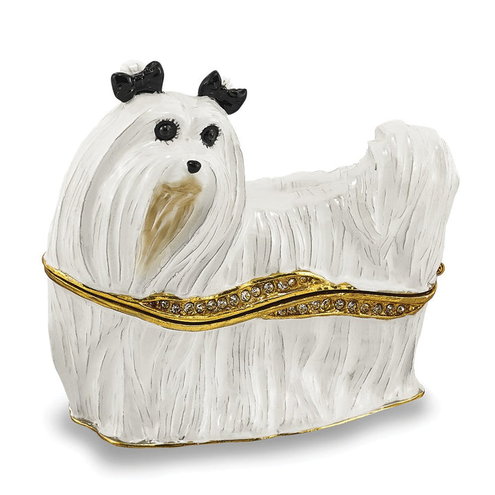 Bejeweled Maltese Trinket Box with Charm Pendant