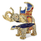 Bejeweled Majestic Elephant Trinket Box with Charm Pendant
