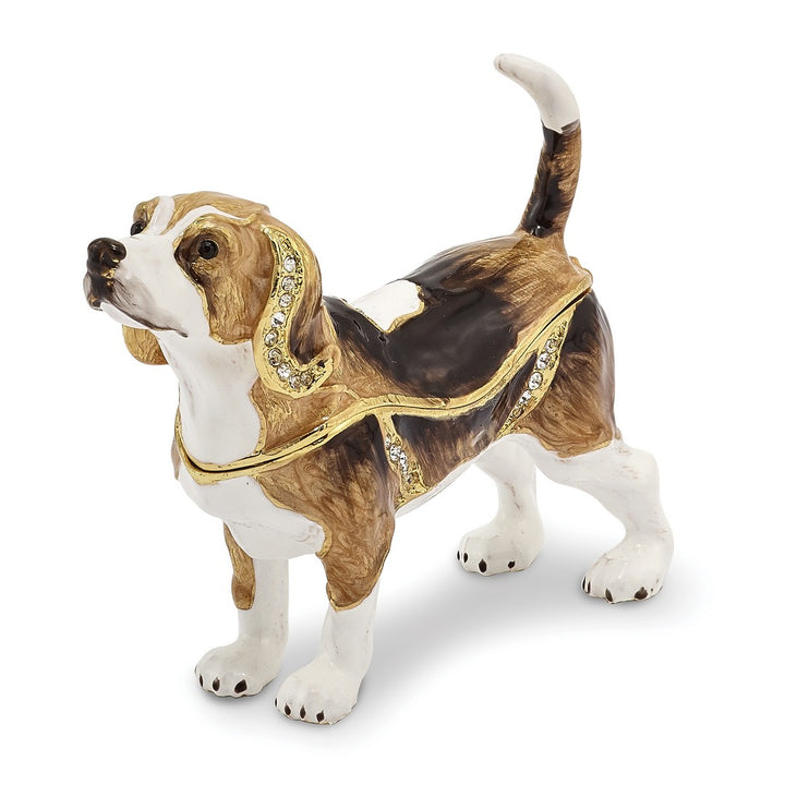 Bejeweled Beagle Trinket Box with Charm Pendant