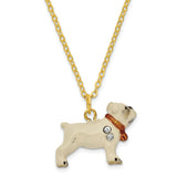 Bejeweled Bulldog w/Football Trinket Box with Charm Pendant