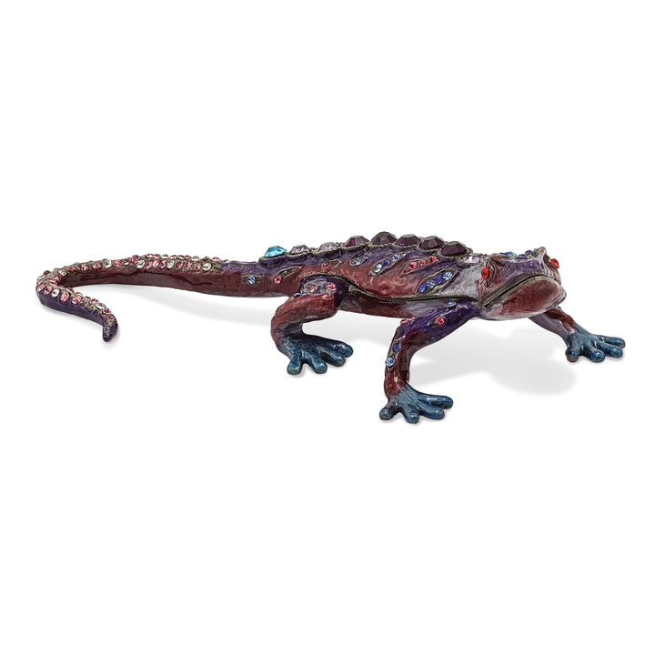 Bejeweled Gecko Trinket Box with Charm Pendant