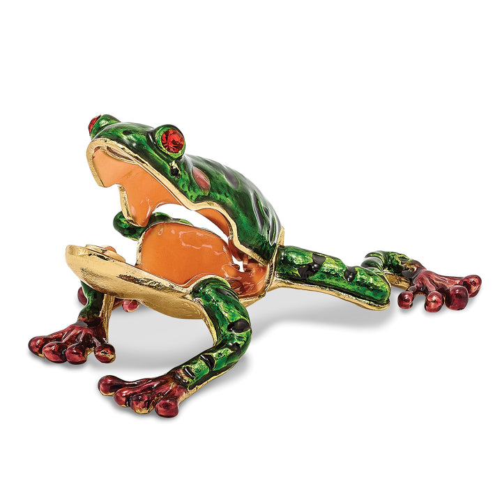 Bejeweled Green Pond Frog Trinket Box with Charm Pendant