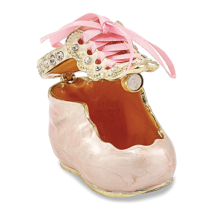 Bejeweled Pink Baby Bootie Trinket Box with Charm Pendant