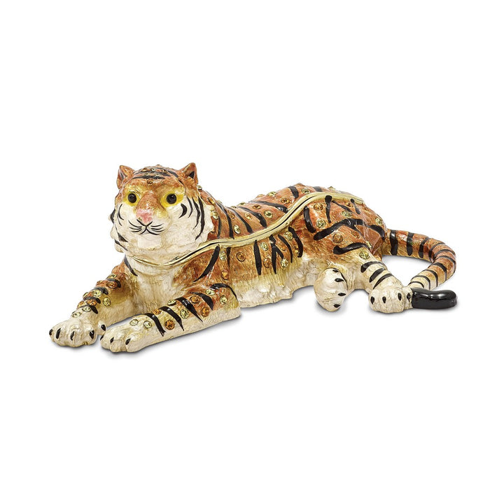 Bejeweled Tiger Trinket Box with Charm Pendant