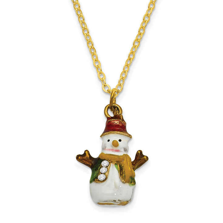 Bejeweled Snowman Tree Trinket Box with Charm Pendant