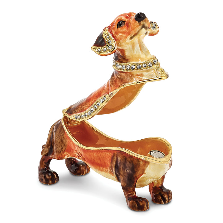 Bejeweled Dachshund Trinket Box with Charm Pendant