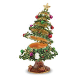 Bejeweled Christmas Tree Trinket Box with Charm Pendant