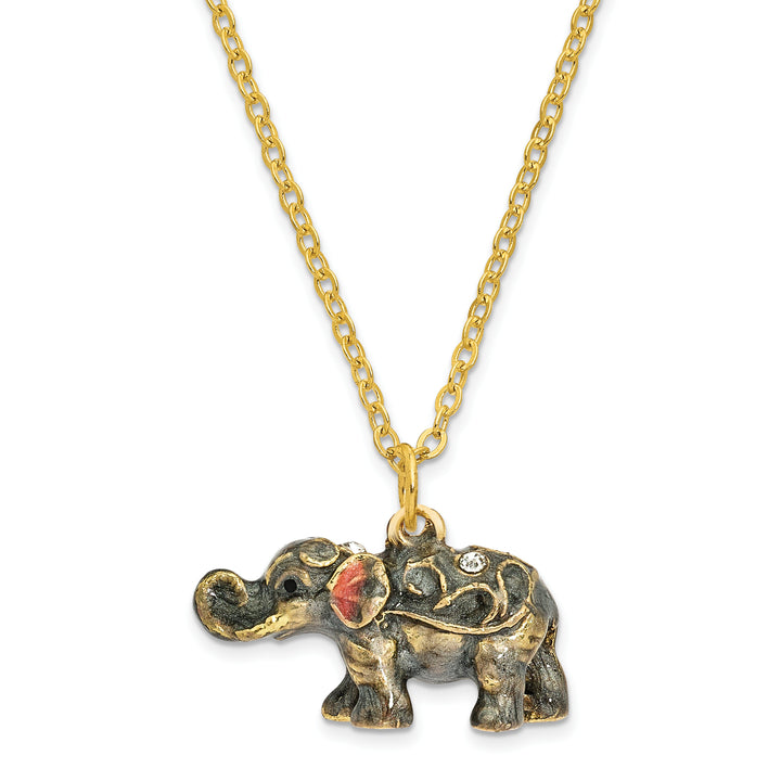 Bejeweled Grey Elephant Trinket Box with Charm Pendant