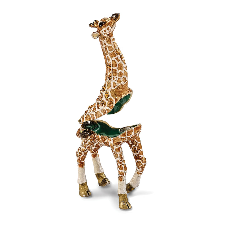 Bejeweled Mother & Baby Giraffe Trinket Box with Charm Pendant