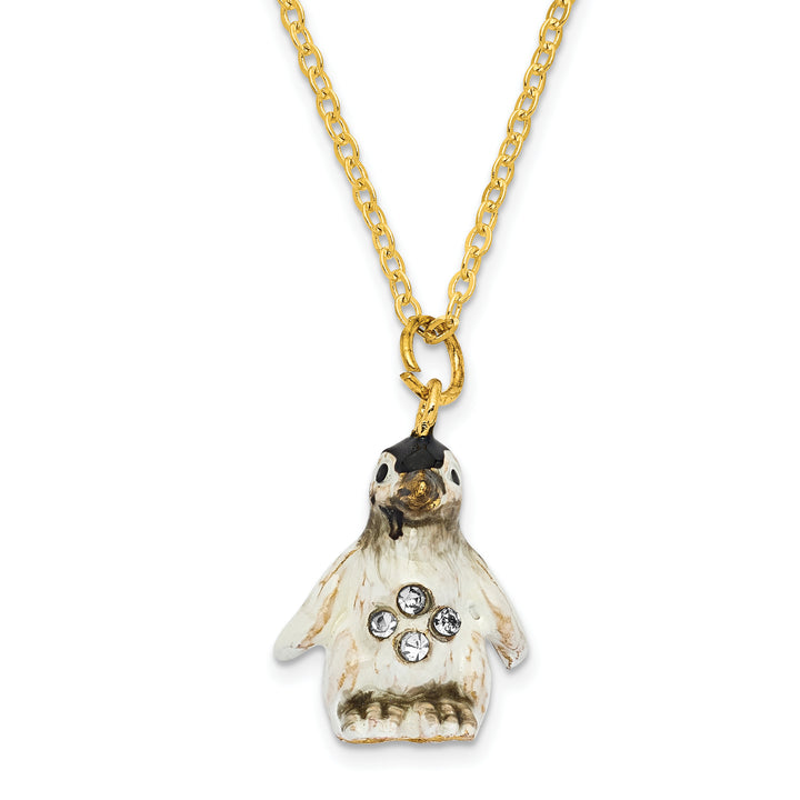 Bejeweled Baby Penguin Trinket Box with Charm Pendant