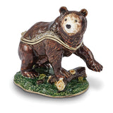Bejeweled Kodiak Bear Trinket Box with Charm Pendant