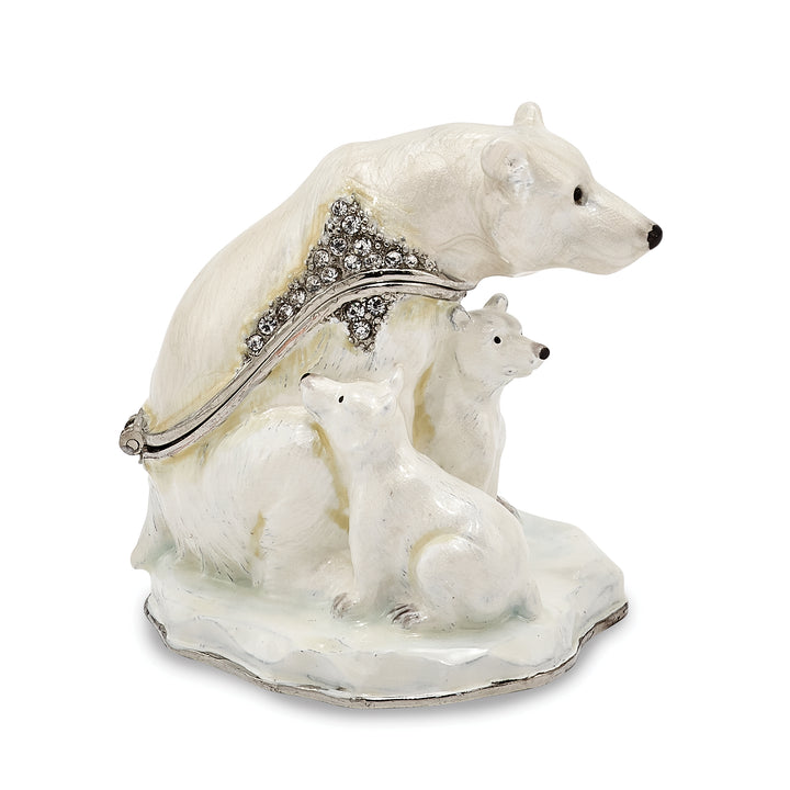 Bejeweled Polar Bear & Cubs Trinket Box with Charm Pendant