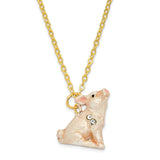 Bejeweled Bashful Pig Trinket Box with Charm Pendant